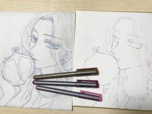 オリジナル色紙イラスト「柘榴」線画